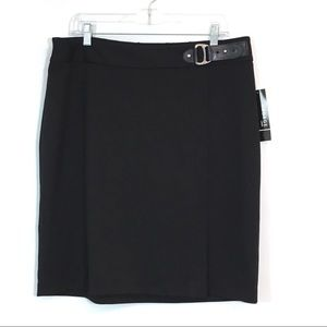 George Black Ponte Buckle Skirt Front Split Size L